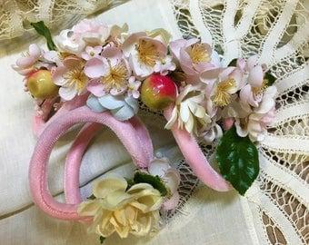 Bridesmaid Hat Facinator Head Piece  and Wrist Corsage Vintage Mid-century 1950s Pink Velvet Floral