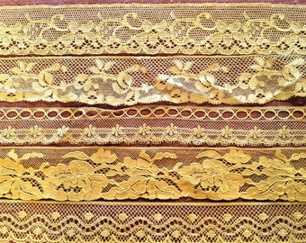 Antique Lace Trim Lot of 6 designs Vintage Victorian Net Embroidered