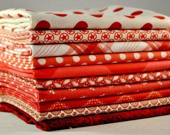 Designer Fabric Bundle Red, 10 fat quarters, 100% cotton