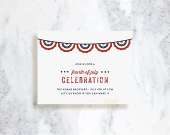 Independence Day Invitations // Front Porch // Birthday Party Invite // Baby Shower // 4th of July