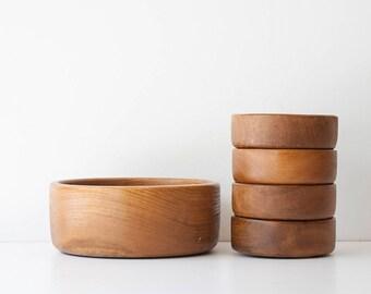 Vintage Danish Modern Teak Salad Bowl Set
