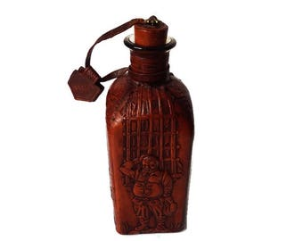Vintage Spanish Leather Decanter Bottle/ Mid Century Barware/ Leather Wrapped Whisky Bottle