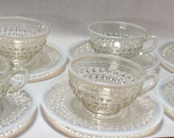 Set of Eight 1930's MILK & CLEAR Glass Cups and Saucers ~ Mint Condition ~ First Time on Market