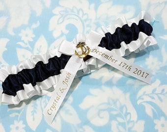 Nautical Wedding Garter SINGLE or SET , beautiful  navy and white Nautical themed garter - petsonalised - monogrammed- gold
