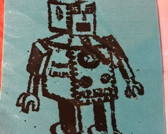 colored denim cloth screen printed robot patch
