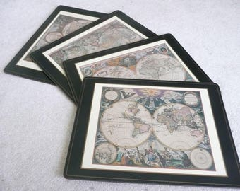 "Pimpernel ""Antique Maps"" Laminated Placemats, Made in England, Discovery of New World, New Condition"