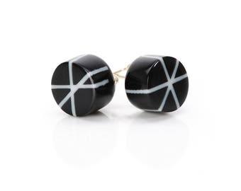 Zazou Stud Earrings in Jet Black