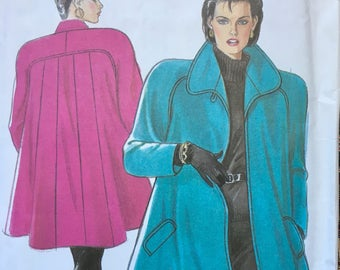40s Style Back Panel Flared Coat Pattern New Look 6769  Raglan Sleeve Pocket Welts Size 8 to 18 UNCUT