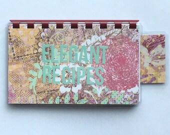Handmade Pastel Green 'Elegant Recipes' Blank Recipe book for Personal Recipes
