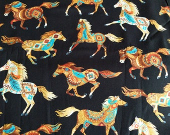 Cotton Fabric, 1/2 Yard, Painted Horses, Southwest, Native American, Brown, Turquoise, Quilt, Quilting, Pillow, Sewing, Crafts, Decor, Gift