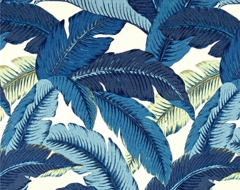 Indoor Outdoor Swaying Palms - Indigo Blue Tropical Palm Leaf Pillow Cover - Banana Leaf