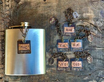 Personalized Flask Tags for Bridal Party Groomsmen. Custom Flask Tag. Groomsman Flask. Brass Copper Metal Tags. Home Bar Decanter Label, Tag