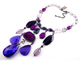 Chico's Purple Donella Bib Extended Length Necklace, Multi Tiered