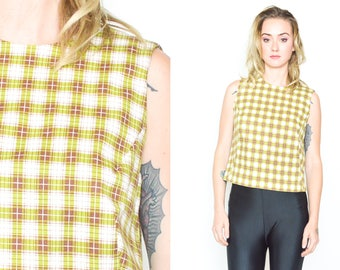 GUESS 90's GREEN PLAID Top. Button Closure Back. Brown Green Checked. Sleeveless Crop top . 90's Mod Grunge Size Small/S