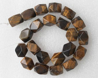 Full Strand Natural Tiger's Eye Cuboid Faceted Nugget Beads