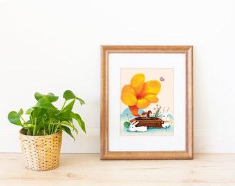Floral Gramophone Art Print