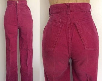 """30% OFF 1970's High Waisted Raspberry Corduroy Straight Leg Pants Size XS 24"""" 25"""" Waist by Maeberry Vintage"""