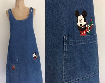 1990's Mickey Mouse Denim Jumper Dress With Pockets Size Medium Large by Maeberry Vintage