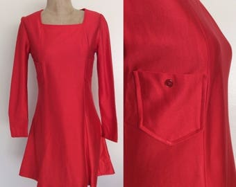 1970's Red Mod Mini Dress w/ Double Pockets Size Small Medium by Maeberry Vintage