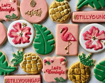 Pink Flamingos and Pineapple Palm Trees Sugar Cookie Collection
