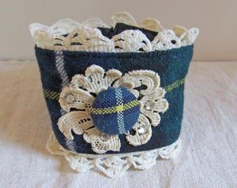 Clan MacNeil Modern wool tartan wrist cuff trimmed in vintage crocheted lace with rhinestones