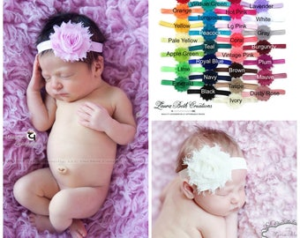 Newborn Headbands, Infant Headbands, You Pick Quantity, Shabby Chic FOE Headband Set, Children's Headband, Baby Headband, Adult Headband