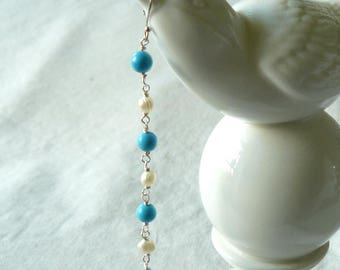 Turquoise and Freshwater Pearl Shoulder Duster Earrings