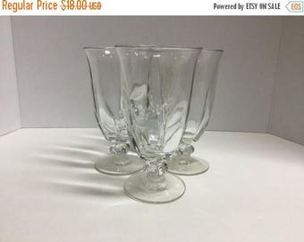 Sale Vintage Large Water Goblets Wine Glasses Ice Tea Glasses Goblets Set of 4
