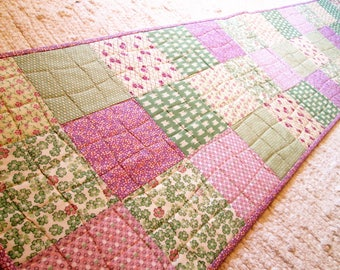 Quilted Cottage Chic Vintage Patchwork Summer Table Runner