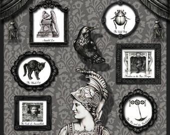 Edgar Allan Poe Poster, Poe Print, Victorian Poster, Gothic Art, Victorian Print, Literary Poster, The Raven, Victorian Gothic