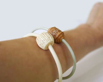 Knitting Needle Bracelets with Focal Bead