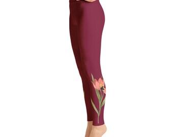 Flowers on Maroon Yoga Leggings