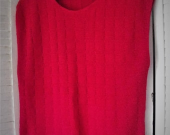 Red Cable Knit Sweater Vest/Size M-L Holiday Red Sleeveless Sweater/ Vintage Poly-Cotton Vest/ Thrifted Shabbyfab Funwear