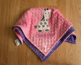 Personalized Baby Gifts, Personalized Minky Security Blanket, Appliqued Baby Blanket, Appliqued Minky Doll Blanket, Giraffe Security Blanket