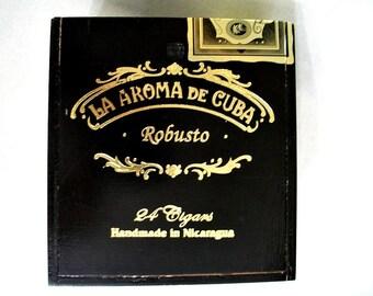 Wooden Cigar Box with slide top - Black - La Aroma - Robusto