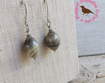 Silver Streak Jasper Drop Earrings, Green and Silver Drop Earrings, Jasper Green Earrings, Boho Earrings, by MagpieMadness for Etsy