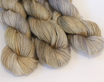 Hand Dyed Yarn Alpaca Silk Linen colorway, Lyneth Fingering yarn, 438 yards, 'Hayloft'