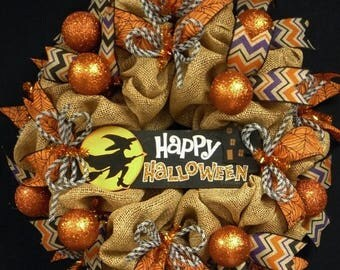 ON SALE Happy Halloween Wreath, Faux Burlap Black Orange, Wreaths for the Door, Halloween Door Decor (1226)