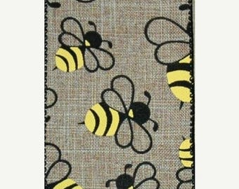 ON SALE 2.5 Inch Natural Bumble Bee Ribbon TR56240-15