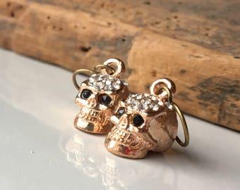 Skull Earrings, Skeleton Earrings, Copper Skulls, Dangly Earrings, Unique, Etsy, Etsy Jewelry