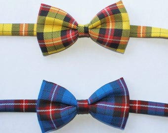 Black and Yellow or Black and Blue plaid bow ties for little boys - pre-tied, photo prop, accessory