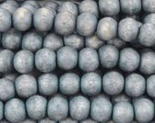 Wood Beads-8mm Round-Bracing Blue-16 Inch Strand-Quantity 1