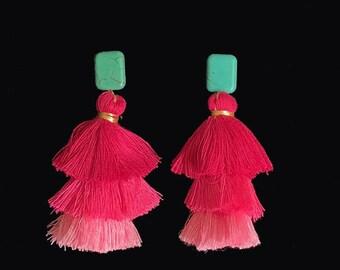 Big Tassel earrings - Pink