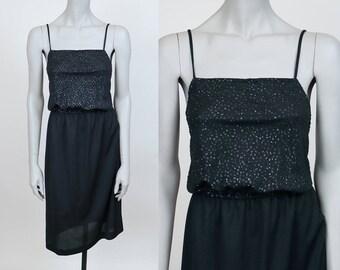 Vintage 70s Dress / 1970s Minimalist Black Glitter Blousy Tank Dress S M