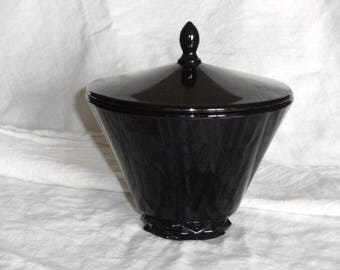 Vintage Black Lidded Milk Glass Dish