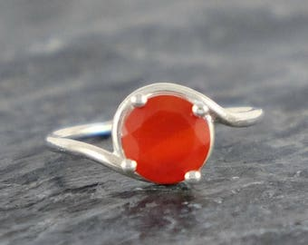 Carnelian Ring, Carnelian Engagement Ring, Sterling Silver Ring, Carnelian Jewelry, Orange Gemstone Ring, Red Orange Ring, Asymmetric Ring