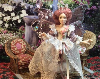 Miniature, Doll House, Miniature Fairy, OOAK Miniature Fairy Doll, Queen Mim the Summer Fairy