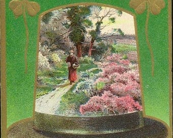 Antique St. Patrick's Day Postcard Scenic Hat With Gold Four Leaf Clover and Clay Pipes 1910 With Flag Cancel – Erin Go Bragh