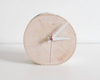chunky white birch wood clock - wooden clock, modern rustic clock, desk clock, table clock, small clock