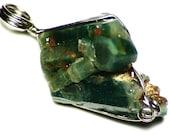 White Gold Emerald Crystal Necklace (21 ct) Raw Emerald Pendant, Emerald Crystal Cluster Necklace, Emeralds on Matrix, Raw Zambian Emerald